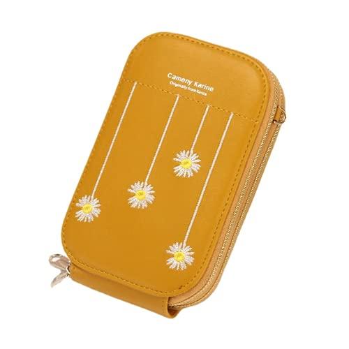 Cartera pequeña Colorida de Piel sintética de PU Vegana para Mujer Interior con Cierre de Cremallera (Yellow,One Size)