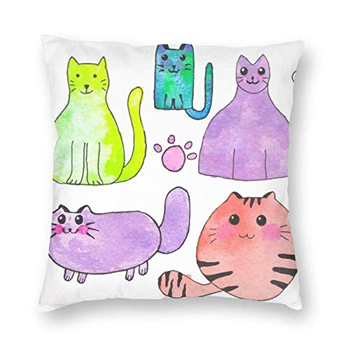 Clothes socks Cartoon Cats Pets Decorative Square Throw Pillow Covers Soft Soild Pillow Sham for Sofa Bed Chair 18 X 18 in
