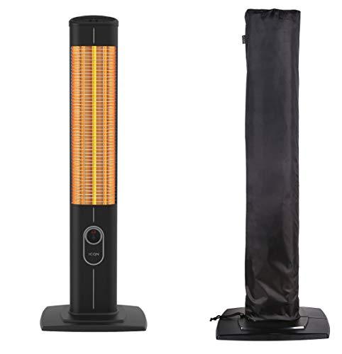 ICQN Estufa de pie de 2500 W con mando a distancia, calefactor de infrarrojos para interior y exterior, IP20, pantalla digital, IC2500.RB