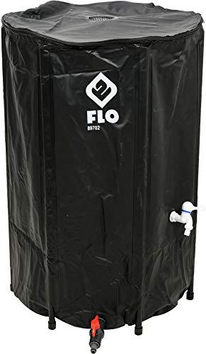 FLO Faltbare Regentonne mit Hahn, Filter und Überlaufschutz, Volumen 250 Liter, massives PVC, stabile Füße, Ø60 x 88 cm, UV-resistent, Wassertonne Regenwasser Tank Fass Regenfass Zisterne