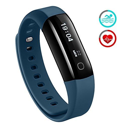 Mpow Unisex-Adult 1 Armband mit Pulsmesser,Wasserdicht IP67 Smartwatch Pulsuhren Fitness Tracker Aktivitätstracker Schrittzähler Uhr für Damen Herren Anruf SMS Beachten, Schwarz, 0.96 inch