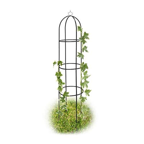 Relaxdays Rankobelisk beschichtetes Metall 190 cm, witterungsbeständige Garten Rankhilfe für Rosen und Blumen, grün