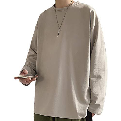 Derrick Aled(k) zhuke Männer Langarm T-Shirts O-Neck Shirt Lässig Bequem Rundhalsausschnitt Herren Einfarbiges Paar Bottoming Frauen Loose Top