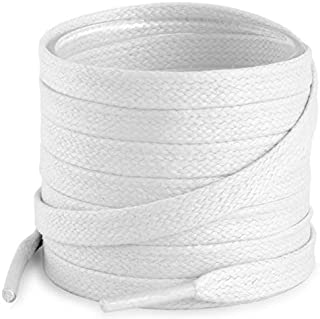 Flat Waxed Cotton Shoe Laces for Boots & Dress Shoes with 4 Shoelace Tip Aglets