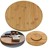 LS-LebenStil Holz Drehplatte Drehteller 35cm Bambus Drehtablett Servierplatte