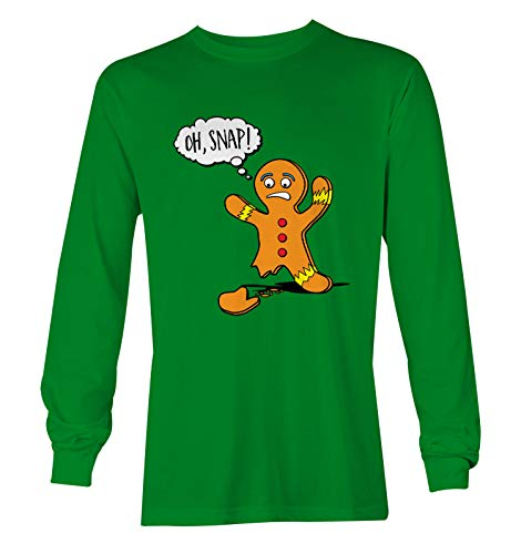 Oh Snap! - Gingerbread Man Cookie Funny Unisex Long Sleeve Shirt (Kelly, XX-Large)