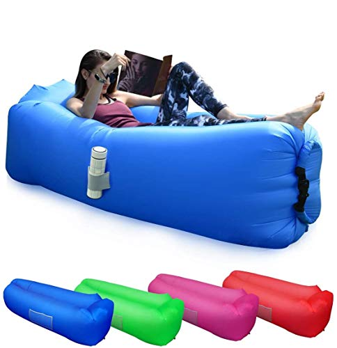 BACKTURE Sofa Hinchable, Tumbona Inflable Cama con Almohada integrada, portátil Impermeable 210T Poliester Aire sofá Inflable Sillón, Tumbona de Playa Cama para Piscina, Camping, Parque (Azul)