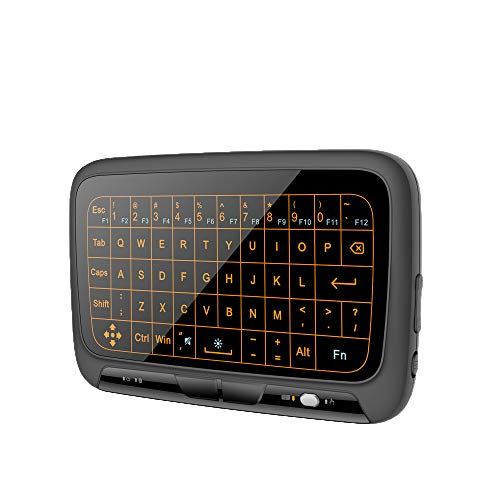 Mini teclado inalámbrico de 2,4 Ghz con retroiluminación ajustable de 3 niveles, teclado inalámbrico de control remoto de pantalla completa recargable con receptor USB NANO Plug and Play para PC, TV