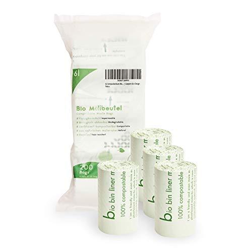Plantvibes kompostierbare Müllbeutel, Bio-Mülltüten, CO2-neutral & 100% kompostierbar - 200 Stück à 6l Beutel - Nachhaltige Abfallbeutel