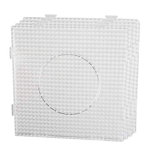 Smowo 4 Bügelperlen Platten - Steckplatten Quadratisch und transparent - zusammensteckbar mit Stiftplatten - 14,5 x 14,5 cm