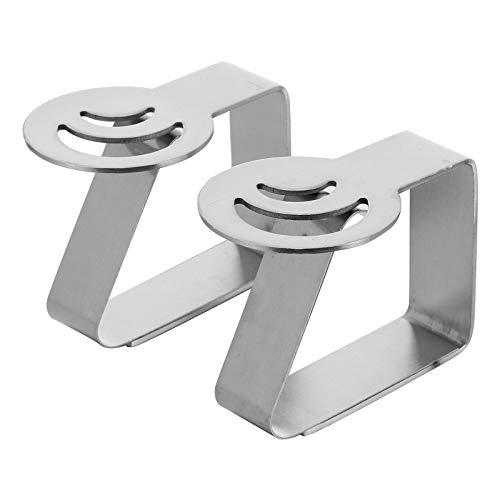 Clip de tela de mesa de acero inoxidable con clip gráfico de 3 cm de calibre alto elástico fijo clip a prueba de viento (luna 2 unids/juego)