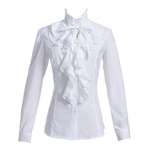Taiduosheng Las mujeres Camisas De Encaje Cuello De Volante De Pie De Cuello De Botón De La Blusa De Manga Larga OL Camisa Tops