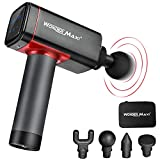 Massage Gun Deep Tissue Muscle Massager for Athletes, Cordless Handheld Percussion Massage Gun Trigger Points and Muscle Recovery for Sport Pain Relief (LCD Black and Red)