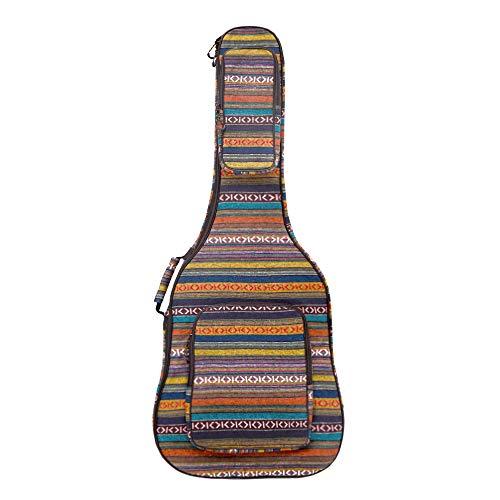 Glenmi - Funda para guitarra acústica (40 cm, 41 pulgadas, con bolsillos en 3D, protector para la nuca, estilo bohemio, esponja acolchada)