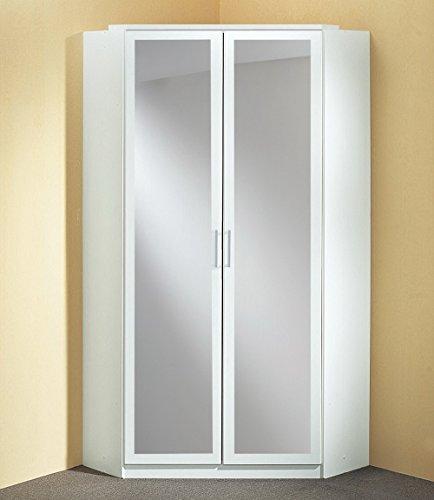 lifestyle4living Schrank, Eckkleiderschrank, Kleiderschrank weiß, 2 Spiegeltüren, Maße: B/H/T 95/198/95 cm
