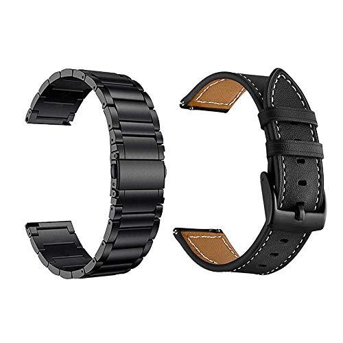 Yeejok Vivoactive 3 Bands for Men Women, 20mm Garmin Venu Bands Replacement, Leather Strap+Metal Watch Band Compatible for Garmin Vivoactive 3 Music/Forerunner 645/245 Smartwatch-Black