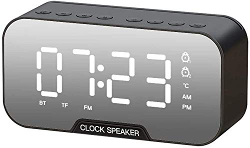 Reloj despertador digital Bluetooth, radio de carga USB, reloj despertador digital doble con pantalla LED regulable de tiempo – Altavoz Bluetooth Sensor de temperatura de luz nocturna