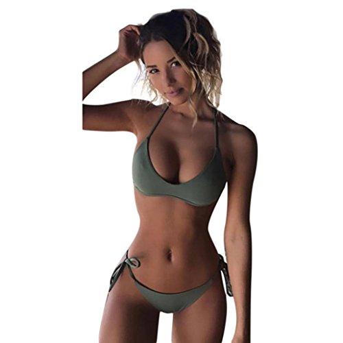 Damen Sommer Bademode FORH Sexy Frauen Die gepolsterte BH Strand Casual Solide Bikini Badebekleidung Mode Swimsuit Schwimmanzug Strandmode Beachwear Bikini Set (L, Grün)
