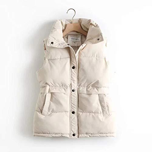 LuckyOne Höst vinter kvinnor solid lös väst dragsko stående krage lång väst jacka bomull vadderad dam vindtät varm väst