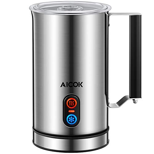 Aicok Milk Frother, Stainless Steel Electric Milk Steamer with Hot or Cold Milk, Strix Temperature Controller, Non-Stick Coating, Silent Operation, Milk Warmer for Coffee, Latte, Cappuccino, Silver