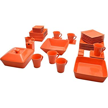 Street Nova Square Banquet 45-piece Dinnerware Set the Contemporary Square Shape Creates a Stunning Table and Stores More Compactly Than Traditional Round Dinnerware by 10 Strawberry in Orange Color