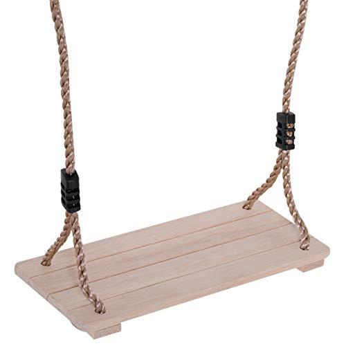 HOMCOM Columpio Infantil al Aire Libre Columpio con Cuerda Asiento 40x16cm de Madera Pino para Adultos y Niños