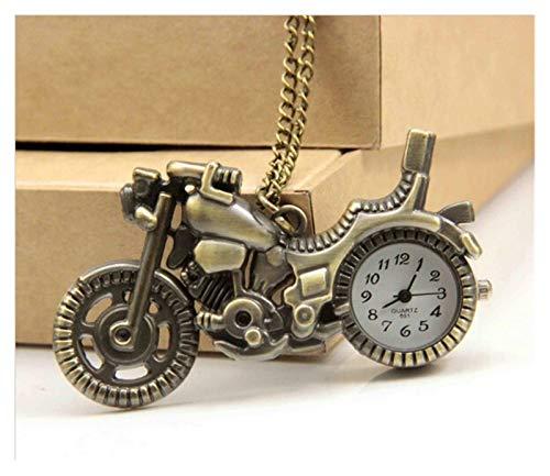 junfeng Despertador Nuevo Reloj de Bolsillo de Bronce Retro del Moto de la Motocicleta Collar Pendiente de Las Mujeres Relojes Relojes de Cuarzo Mejores Regalos decoración hogareña (Color : Bronze)