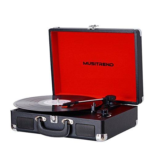 MUSITREND Plattenspieler Schallplattenspieler Turntable Riemengetriebener Tragarer Stereo Plattenspieler mit 3 Geschwindigkeiten Eingebauten