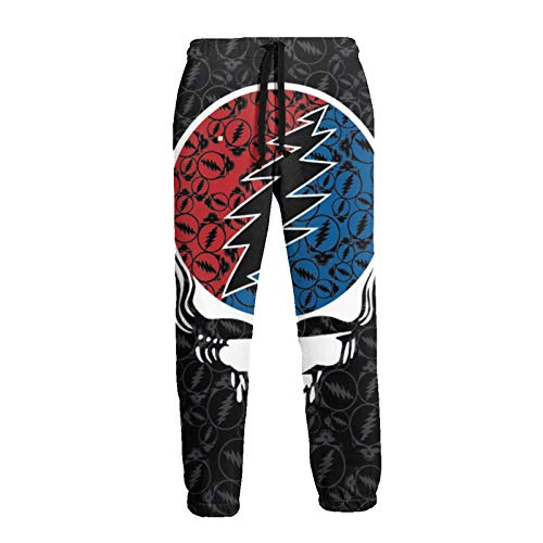 AUCHUIXBFB Grate-Ful Dead Steal Your Face Men's 3D Printed Fashion Jogger Pants Casual Sweatpants White