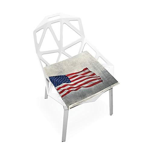 LORONA Amerikanische Flagge USA Sitzkissen Stuhlkissen Memory Foam Pads für gesundes Sitzen zu Hause, Büro, Küche, Rollstuhl, Essen, Terrasse, Camping | Quadrat 16 'x 16'