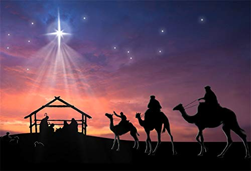 AOFOTO 7x5ft Stable Nativity Scene Background Shiny Star Birth of Christ Jesus Camels Sheeps Sketch Manger Scene Background for Church Concert Decor Religion Photography Wallpaper Photo Studio Props