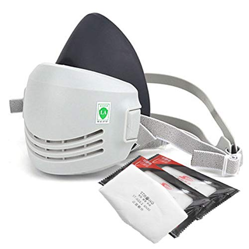 Reusable Half Facepiece Respirator Cover – Dust Half Mask Respirator with 3 Replaceable Filters for Particle Filtering for Dust, Paint, Cleaning, Grinding, Sawing, Sanding, Resin, Welding & Polishing