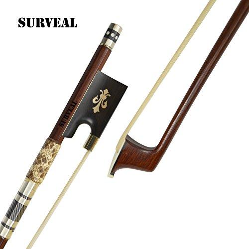 Surveal Arco profesional de piel de serpiente con incrustaciones de madera de Brasil con sonido cálido.