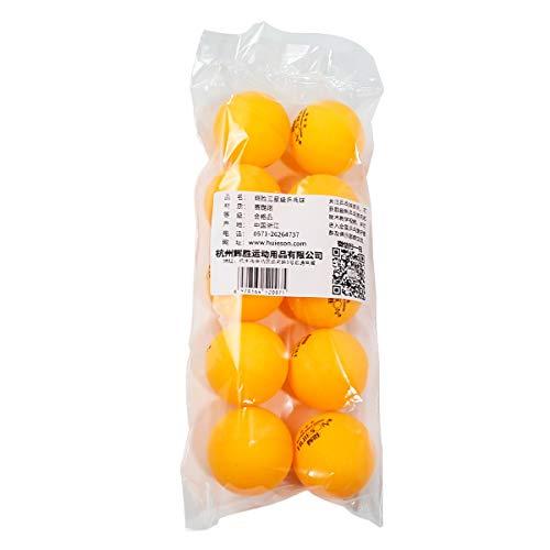 10-Pack Professional Table Tennis Ball Plus 40mm Diámetro 2.9 g 3 Estrellas Premium Ping Pong Balls Entrenamiento avanzado para torneos Juega Naranja y Blanco (Color : Yellow)