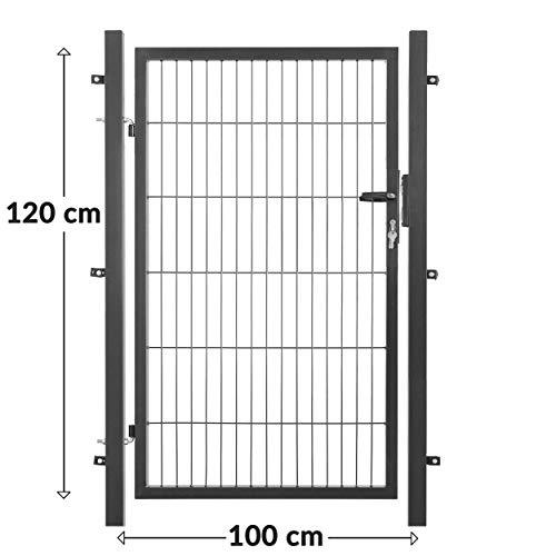 80 cm, Anthrazit RAL 7016 Gartentor inklusive Schlo/ß /& 3 Schl/üssel Zauntor mit verstellbarer Edelstahlscharnieraufh/ängung IR Experten Gartent/ür Set mit stabilen Vierkantpfosten