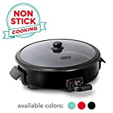 Dash Family Size Rapid Heat Electric Skillet + Hot Oven Cooker with 14 inch Nonstick Surface + Recipe Book for Pizza, Burgers, Cookies, Fajitas, Breakfast & More, 20 Cup Capacity, Black