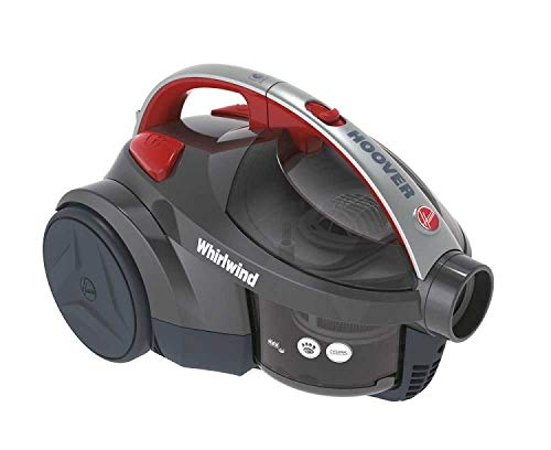Hoover Whirlwind Pets Bagless Cylinder Vacuum Cleaner, SE71WR02, Lightweight, Compact - Grey/Red