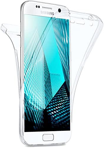 moex Double Hülle für Samsung Galaxy S7 Hülle Silikon Transparent, 360 Grad Full Body R&um-Schutz, Komplett Schutzhülle beidseitig, Handyhülle vorne & hinten - Klar