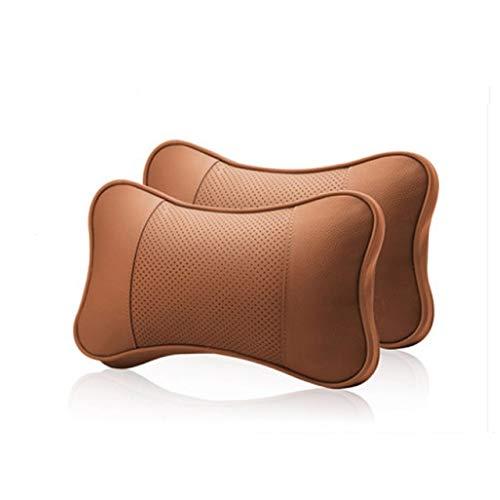 Reposacabezas Coche 2 piezas de cuero auténtico auto de cuello almohada de espuma de memoria almohadas resto del cuello del apoyo for la cabeza del asiento del amortiguador del cojín Accesorios Reposa