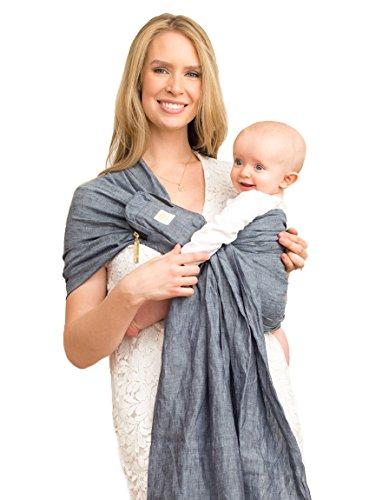 LÍLLÉbaby Canguro para Recién Nacidos y Bebés, Ecológico, Ligero, Transpirable con Bolsillo Extraible - Gris Jaspeado Oscuro