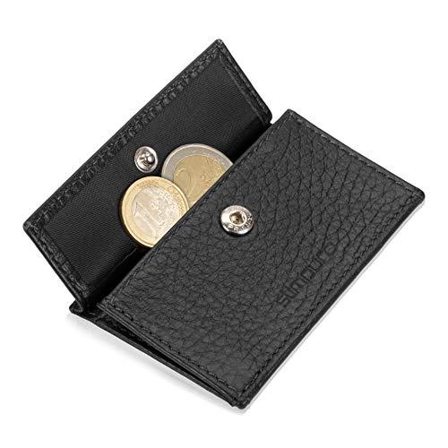 Coin Pocket Münztasche für ZNAP Slim Wallet – Platz für bis zu 10 Münzen – Kleingeldfach, Münzgeldfach, Münzfach, Coin Case zum Einschieben von Slimpuro (Schwarz Genarbt)
