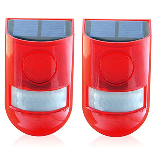 Solar Security Light Alarm,2 Pack IP65 Waterproof PIR LED Motion Sensor Flashing Light Lamp,Built in Battery,Energy Saving Warning 110dB Loud Siren Solar Light for Home Flashing Outdoor