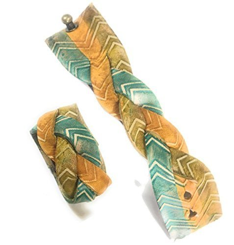 Braided Max 72% OFF Boho Max 46% OFF Turquoise Green Yellow Chevron W Leather Ponytail