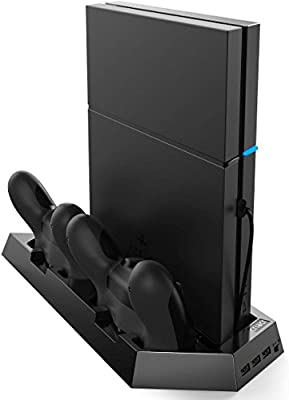 [New Version]Criacr PS4 Slim Vertical Stand with Cooling Fans,3-port USB Hub for SONY PlayStation 4/Slim,Space Saving Charging Station,with Dual Charger for DualShock 4 Wireless Controllers