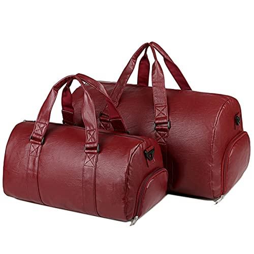 LINGBD Bolsa de viaje de cuero con bolsa de zapatos, bolsa impermeable para el semanario durante la noche, bolsa grande de transporte para hombres PU bolsa de gimnasio, rojo, A