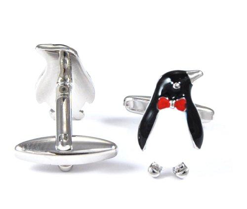 Gemelolandia | - Gemelos pinguino linux, color negro, blanco y pajarita roja Gemelos Originales Para Camisas | Para Hombres y Niños | Regalos Para Bodas, Comuniones, Bautizos y Otros Eventos