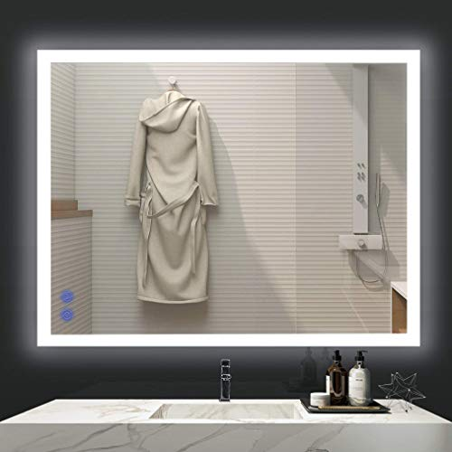 VENETIO 36 x 28 Inch LED Bathroom Mirror with Touch Dimmable Design and Smart Anti Fog Function, Large Modern Wall Mounted Light Up Makeup Vanity Mirror - Horizontal or Vertical Hanging, Rectangle V1