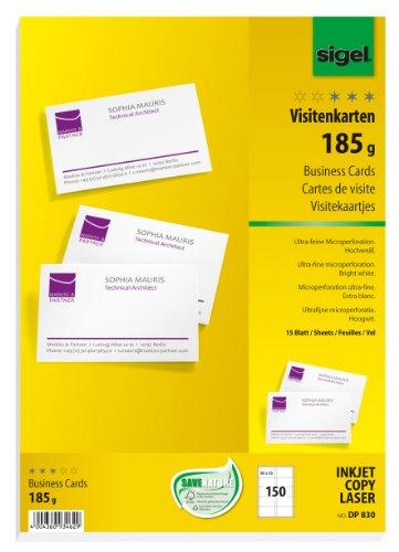 15 hojas de cartulina precortadas por tecnología MP para realizar 150 tarjetas de visita, blancas. Medidas: 8,5 x 5,5 cm. Material: cartulina de alta calidad 185g / m2. Imprimibles sobre las dos caras. Muchos usos: tajetas de visitas, tarjetas de fel...