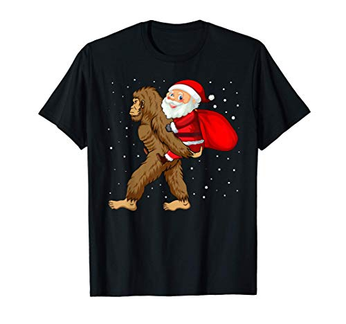 Santa Riding Bigfoot Christmas Sasquatch Christmas Ornament T-Shirt