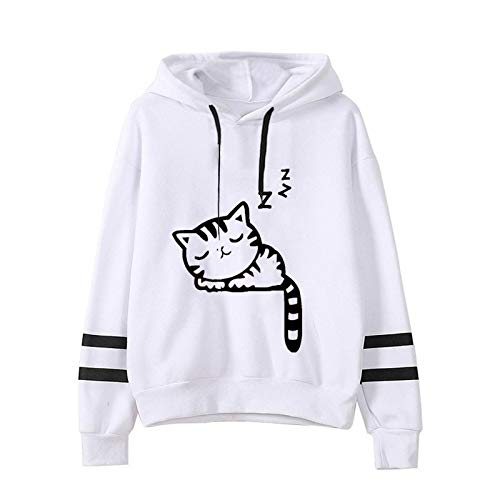 LLRZ for Women's Striped Casual Hoodie Cute Cat Printing Tunics Teen Girls Lightweight Trendy Top
